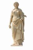 Forntida kvinnastaty i vit bakgrund Royaltyfri Foto