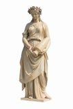 Forntida kvinnastaty i vit bakgrund Arkivfoto