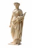Forntida kvinnastaty på vit bakgrund Arkivfoton