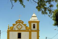 Forntida kyrka i kolonial stil i sydliga Bahia, Brasilien Royaltyfria Foton