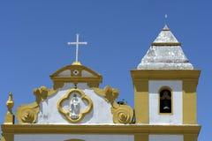 Forntida kyrka i kolonial stil i sydliga Bahia, Brasilien Royaltyfri Bild