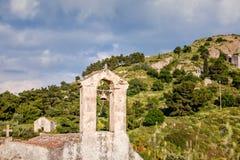 Forntida kyrkor i Palaia Chora, Aegina, Grekland Fotografering för Bildbyråer