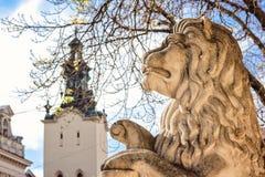 Forntida lejons staty framme av stadshuset på fyrkanten för marknad (Rynok) i Lviv, Ukrain Royaltyfria Bilder