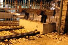 Forntida linje Jaffa-Jerusalem för historisk järnväg siding Arkivfoton