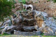 forntida lionsten royaltyfri foto