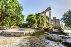 Forntida lokal av Olympia, Grekland Arkivfoton