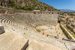 Forntida lycian Myra fördärvar på Turkiet Demre Arkivfoto