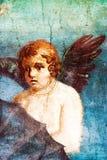 Forntida målad freskomålningvägg av kupidonet i Pompeii, Italien Royaltyfri Bild