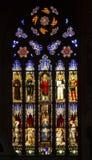 Forntida målat glassfönster av Bolognadomkyrkan arkivbilder