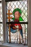 Forntida målat glassfönster i kloster av Lune, Lueneburg, Tyskland Fotografering för Bildbyråer