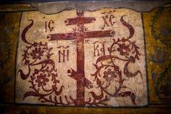 Forntida målning i kyrkan Arkivfoto