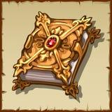 Forntida magisk bok i en guld- räkning med rubinädelstenen Arkivbilder