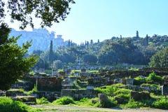 Forntida marknadsplats av klassisk Aten Arkivfoton