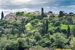 Forntida marknadsplatsAreopagus helgon Paul Rock Athens Greece royaltyfri bild