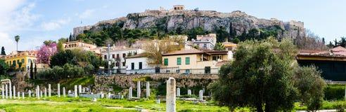 Forntida marknadsplatspanorama för akropol Fotografering för Bildbyråer