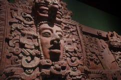Forntida mayan dekorativ framsida som göras med lera Fotografering för Bildbyråer