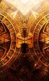 Forntida Mayan kalender, abstrakt färgbakgrund, datorcollage Royaltyfri Foto