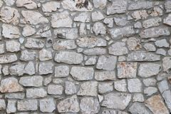 Forntida medeltida stenmurverk Textur av ett fragment av en vägg av en gammal struktur En bakgrund för design och idérikt arbete  arkivfoton