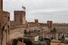 Forntida medeltida väggar, Cittadella, Padova, Italien Arkivbild