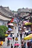 Forntida Ming-Qing Street på Pingyao den forntida staden, Kina arkivfoto