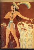 Forntida minoan freskomålning från Knossos, Kreta Royaltyfri Foto