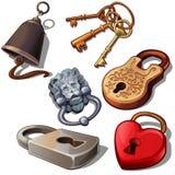Forntida, moderna och romantiska hänglås med tangenter och dörrklockan Lås i form av hjärta, lejonhuvudet och den blom- prydnaden stock illustrationer