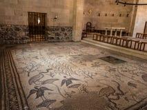forntida mosaik Kyrka av multiplikationen av loavesna och ten Royaltyfria Foton