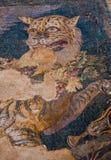 Forntida mosaiker på den arkeologiska ön av Delos Arkivfoto