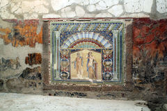 Forntida mosaisk tilework Herculaneum fördärvar, Ercolano Italien Arkivfoto