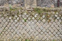 Forntida murverk i den borttappade staden Pompeii Fotografering för Bildbyråer