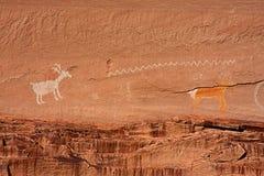 forntida navajopictographs för anasazi Royaltyfri Bild
