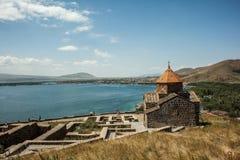 Forntida och härlig Sevanavank kloster Royaltyfri Foto