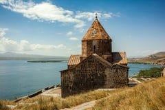 Forntida och härlig Sevanavank kloster Fotografering för Bildbyråer