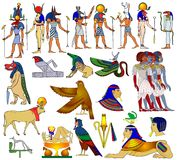 forntida olika egypt teman vektor illustrationer