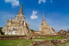 Forntida pagoda i Wat Phra Sri Sanphet Arkivbilder