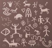 forntida petroglyphs Arkivbilder