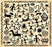 Forntida petroglyphsmodell royaltyfri illustrationer