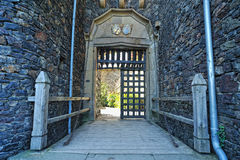 Forntida port av slottet Rheinstein Royaltyfri Bild