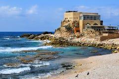 Forntida port i Caesarea Maritima Arkivfoton