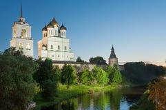 Forntida Pskov Kremlin Arkivbilder