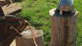 Forntida riddarehjälm på trädstammen lager videofilmer