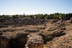 Forntida Roman Amphiteater i Italica arkivbilder