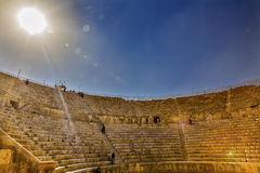 Forntida Roman Amphitheater South Thater City solJerash Jordanien Royaltyfria Bilder