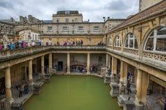 Forntida roman bad, stad av badet, England Arkivfoto