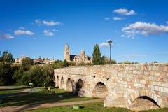 Forntida roman bro med en sikt av Salamanca Arkivbild