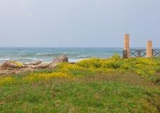 Forntida Roman City av Caesarea i Israel royaltyfri fotografi