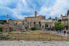 Forntida Roman Forum Full View arkivbilder