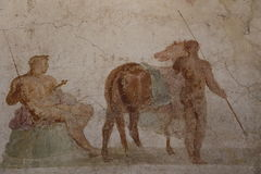 Forntida roman freskomålningmålning royaltyfri bild