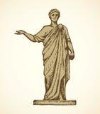 forntida roman staty bakgrund som tecknar den blom- gräsvektorn royaltyfri illustrationer