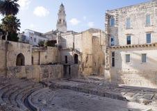 Forntida Roman Theatre fördärvar i Lecce, Italien Arkivfoto